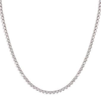 Rhodié serti Clos Silver Halsband med zirconia 42cm-3cm