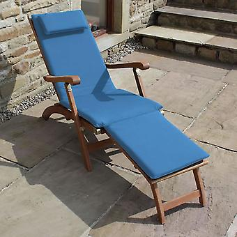 Trueshopping Steamer Sun Lounger Hardwood with Blue Cushion and Side Table