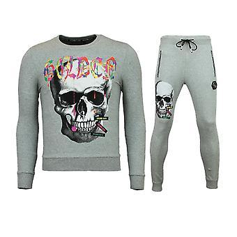 便宜的运动服男士-苗条适合男子的慢跑-颜色骷髅-灰色