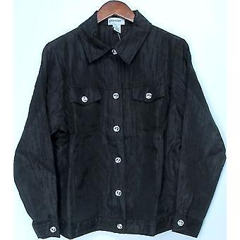 Glitterscape Plus Rhinestone Button Front Crinkle Jacket Black A400012
