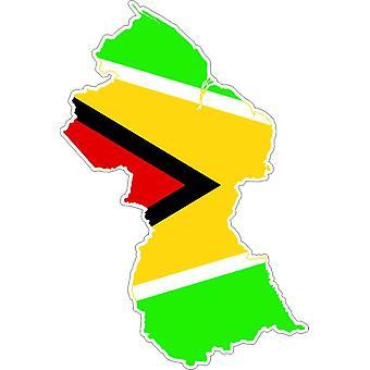 Autocollant Sticker Adhesif Voiture Vinyle Drapeau Carte Guyana