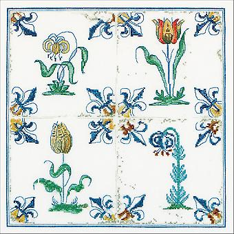 Antique Tiles, Flowers On Aida Counted Cross Stitch Kit-11