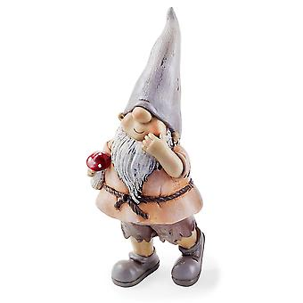 Moss the Garden Loving Gnome Ornament with Mushroom