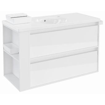 Bath+ Cabinet 2 Drawers With White Porcelain Sink Blanco Brillo 100
