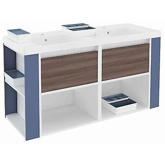 Bath+ Cabinet 2 Drawers + Shelves With Resin Basin Fresno-White-Blue 120