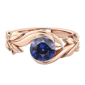 1,00 Ctw blauen Saphir Ring 14K Rose Gold Blume Blätter Blatt