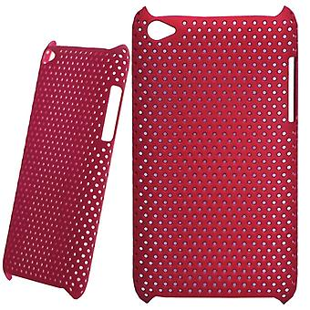 Perforated and ventilated plastic cover-iPod touch 4 (red)