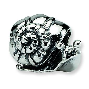 Sterling Silver Polished Antique finish Reflections Kids Snail Bead Charm
