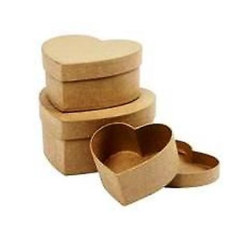 3 Nesting & Stacking Heart Shaped Paper Mache Boxes   Papier Mache Boxes