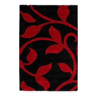 Avoca Elegant Carved Floral Design Red & Black Shaggy Rug 7647