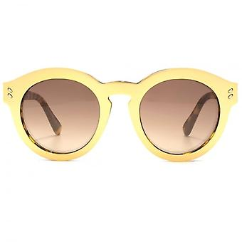 Stella McCartney Iconic Keyhole Round Sunglasses In Havana Gold