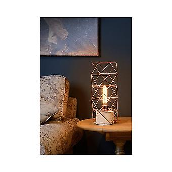 Lucide Lucide RUMICO Copper Cylinder Cage Table Lamp