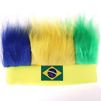 TRIXES Brazil Flag 2016 Rio Olympic Flag Novelty Wig Headband Hat