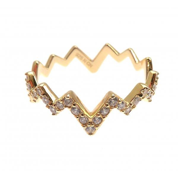W.A.T Dainty 925 Sterling Silver Gold Plated Crystal Zig Zag Ring