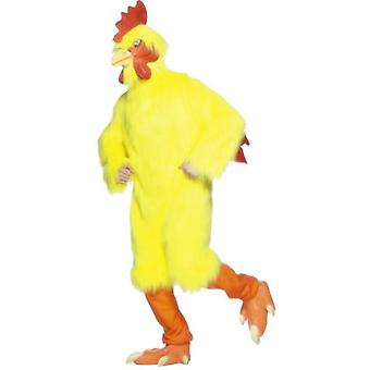 Smiffys Chicken Costume Yellow With Fur Body Latex  Mask And Feet Deluxe (Kostuums)
