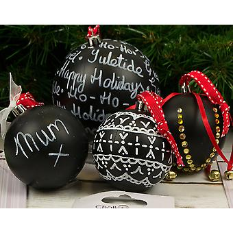 10 Assorted Round Blackboard Christmas Baubles with Chalk Pen