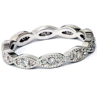 3/8ct Diamond Vintage Eternity Ring Stackable Womens Wedding Band 14k White Gold