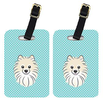 Carolines Treasures  BB1145BT Pair of Checkerboard Blue Pomeranian Luggage Tags
