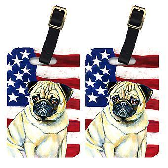 Carolines skatter LH9002BT par i USA amerikanska flaggan med mops bagagebrickor