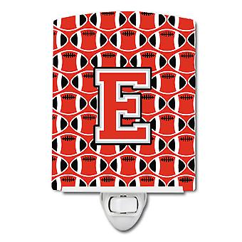 Letter E Football Scarlet and Grey Ceramic Night Light