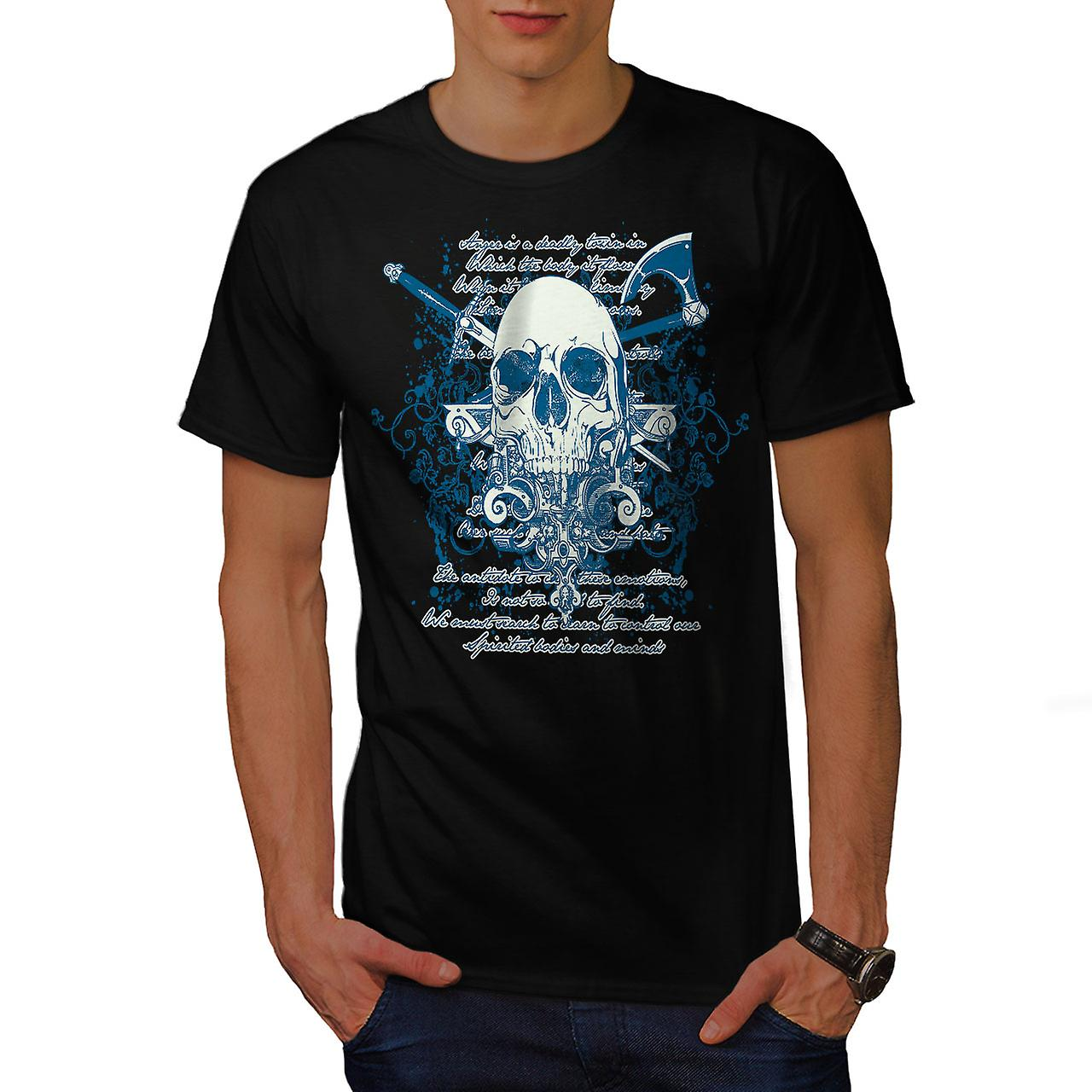 Axe Death Cool Goth Skull Men Black T-shirt | Wellcoda