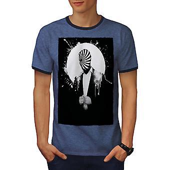 Pak Cool Print mode mannen Heather blauw / NavyRinger T-shirt | Wellcoda