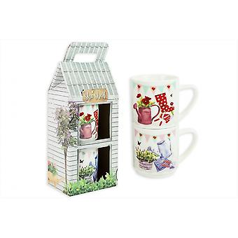 New Bone China Mugs Set of 2 Stacking Mugs Home Office Coffee Cups Tea Cups
