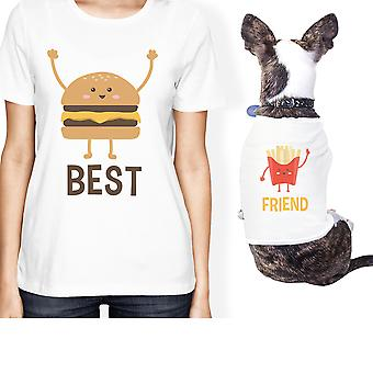 Hamburger und Pommes frites kleine Tierbesitzer passende Geschenk Outfits weiß