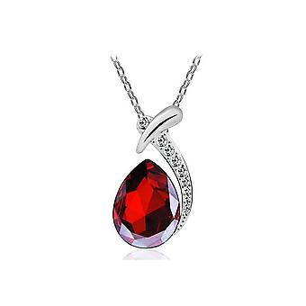 Womens Red Crystal Diamante Pendant Necklace Teardrop Stone