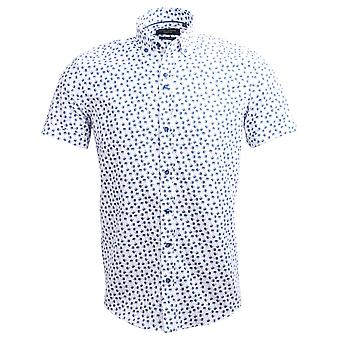 Guide London Cotton Oxford Tropical Tree Print Short Sleeve Mens Shirt