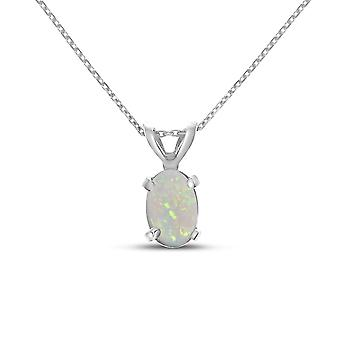 10k White Gold Oval Opal Pendant with 16