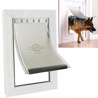 Staywell Pet Dog Door White with Aluminium Frame, Extra Large 64 x 36 CM