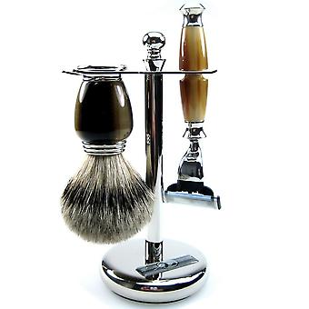 Shaving set 3-piece, chrome-plated, brush with Badger silver tip, razor Mach3 blade
