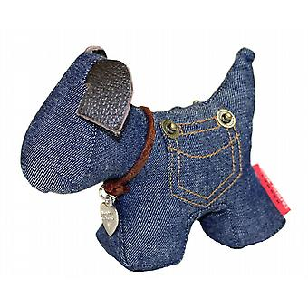 Denim Dog Paperweight by Monica Richards