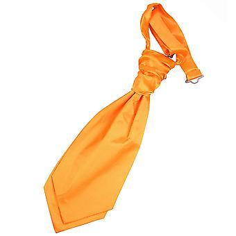 Fluorescent Orange Plain Satin Pre-Tied Wedding Cravat for Boys