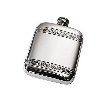 Celtic Horizontal Bands Embossed Pewter Pocket Flask - 4oz