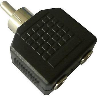 SpeaKa Professional RCA / Jack Audio/phono Adapter [1x RCA plug (phono) - 2x Jack socket 3.5 mm] Black