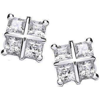 Cavendish French Square Cross Earrings - Silver