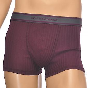 Dolce & Gabbana Stretch Ribbed Cotton Regular Boxer, Burgundy, X-Large