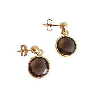 Gemshine - Damen - Ohrringe - 925 Silber - Vergoldet - Rauchquarz - Braun - CANDY - 2 cm