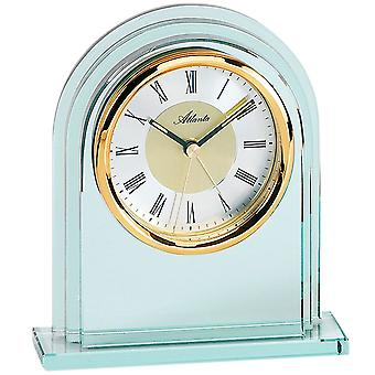 Atlanta 3034/9 style clock table clock quartz analog golden with glass