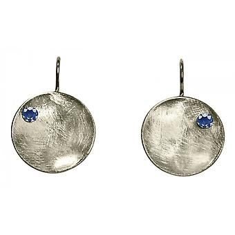 Ladies earrings 925 Silver Bowl Iolite Blau 3 cm