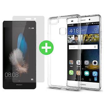 Stuff Certified ® Huawei P9 Lite Transparent TPU Case + Screen Protector Tempered Glass