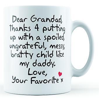 Lieber Opa-Danke, dass du mit... Papa, Liebe deine Lieblings - bedruckte Becher