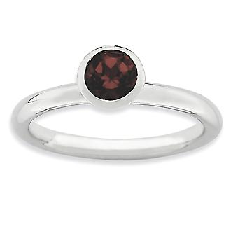 Sterling Silver Bezel Polished Rhodium-plated Stackable Expressions High 5mm January Crystal Ring - Ring Size: 5 to 10