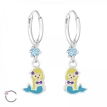 Girls mermaid crystal from Swarovski 925 sterling silver hoop earrings