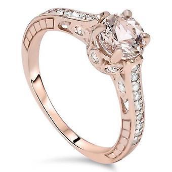 1ct Morganite & Diamond Vintage förlovningsring 14K roséguld