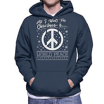Tutto quello che voglio per Natale è mondo pace felpa con cappuccio
