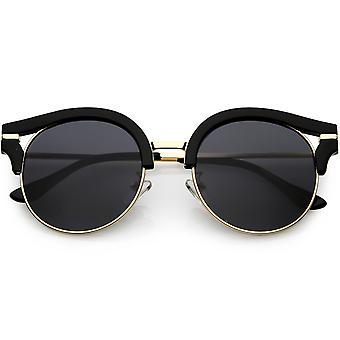 Women's Round Cat Eye Sunglasses Metal Arms Polarized Flat Lens 50mm