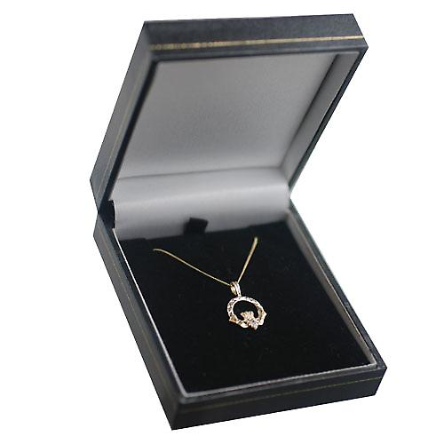 9ct Gold 20x15mm diamond cut Claddagh set with CZ Pendant with a curb chain